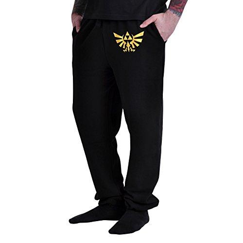 Zelda Pantalón Triforce Logo tamaño s (Small) Pantalones de jogging Nintendo Pantalón The Legend of Zelda Black Lounge Pants Sudadera Pantalón