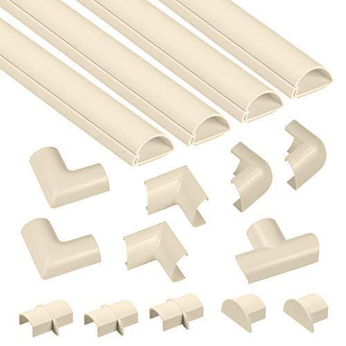D-Line Mini Cable Raceway Kit (Beige) | Self-Adhesive Wire Covers | Electrical Raceway, Popular Cable Organizer for Home Theater, TV, Office and Home | 4 x 39 Inch Channels Per Pack