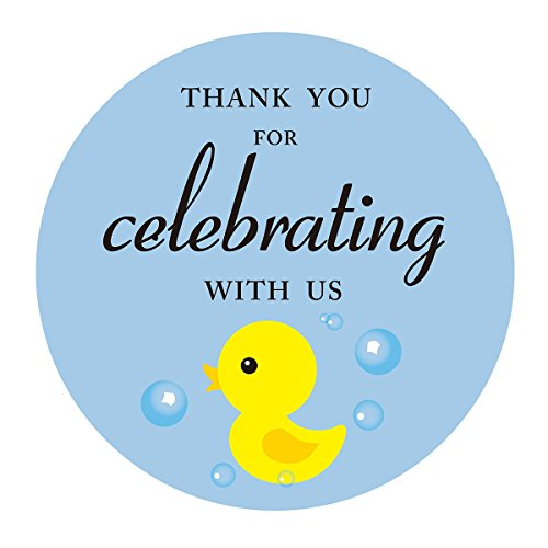 MAGJUCHE Blue Duck Thank You Stickers, Boy Baby Shower or Ducky Themed Birthday Party Favors Sticker Labels, 2 Inch, 40-Pack ()