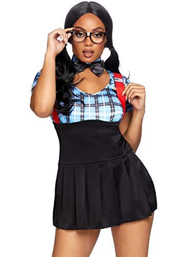 Nerd Costume Girls (Leg Avenue Women's 4pc.Naughty Nerd,Dress w/Keyhole,Collar, Glasses Frame,Panty med/LGE Blue,)