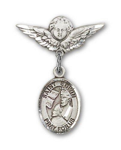 Icecarats Créatrice De Bijoux En Argent Sterling St. Edwin Charme Ange Pin Badge 7/8 X 3/4