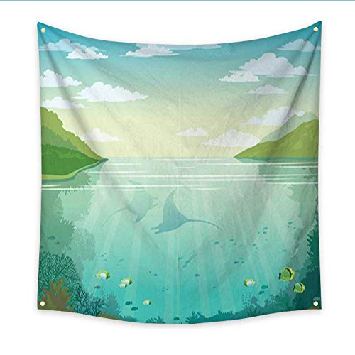 pestry Mantas Coral Reef Underwater sea Island and Cloudy Sky Large tablecloths Wall Tapestry 70W x 70L Inch ()