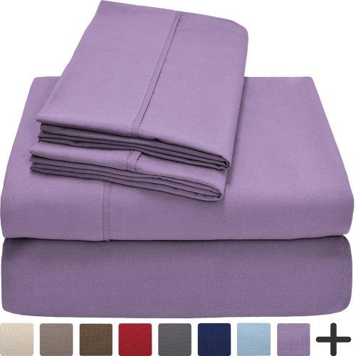 Premium 1800 Ultra-Soft Microfiber Collection Queen Sheet Set, Hypoallergenic, Easy Care, Wrinkle Resistant, Deep Pocket (Queen, Lavender)