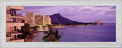 Easy Art Prints Panoramic Images's 'Waikiki Beach, Oahu, Hawaii, USA' Premium Framed Canvas Art - 30