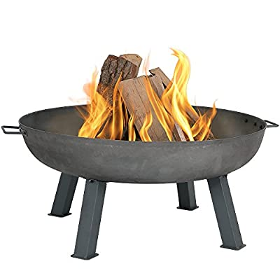 Sunnydaze 34 Inch Large Fire Pit Bowl, Outdoor Wood-Burning, Steel Colored Cast Iron - OUTDOOR FIRE PIT DIMENSIONS: 16 inch tall x 9 inch deep x 34 inch diameter, weighs 35 pounds; Handle to handle measures 39 inches wide HEAVY-DUTY DESIGN: Fireplace is made from a from sturdy, heavy-duty steel colored cast iron material for a country-rustic style FIREBOWL FEATURES: This traditional fire pit has convenient handles on each side making it easily portable and comes with four 10-inch slanted legs for extra stability - patio, fire-pits-outdoor-fireplaces, outdoor-decor - 41ptWNdv3oL. SS400  -