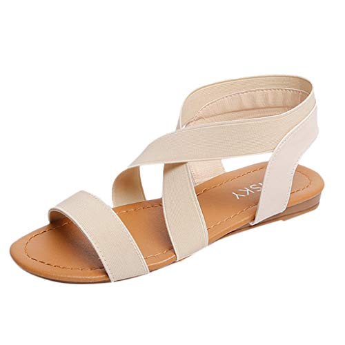 (QBQCBB Women Low Heel Anti Skidding Beach Shoes Cross Strap Sandals Peep-Toe Sandals(Beige,38))