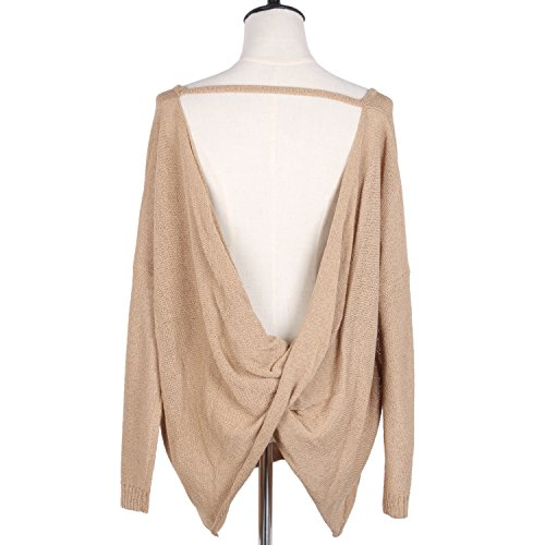 Sexy Backless Long Sleeve Casual Loose Blouse Pullover Tunic Tops Knit Sweater Women Spring Clothing (M/L, khaki)