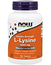 NOW Supplements, L-Lysine (L-Lysine Hydrochloride) 1,000 mg, Double Strength, Amino Acid, 100 Tablets