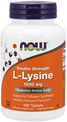 Great immune health vitamins NOW Supplements, L-Lysine (L-Lysine Hydrochloride) 1,000 mg, Double Strength, Amino Acid, 100 Tablets 2019