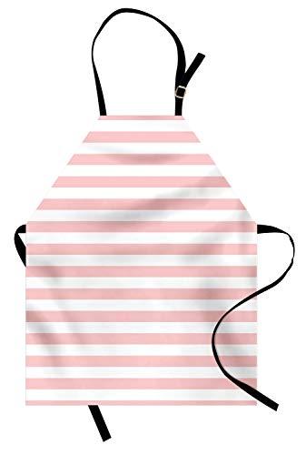 Lunarable Blush Apron, Retro Style Pastel Colored Pink Stripes on White Background Vintage Geometric Design, Unisex Kitchen Bib with Adjustable Neck for Cooking Gardening, Adult Size, White Rose