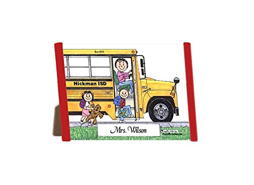 Printed Perfection Personalized Friendly Folks Cartoon Side Slide Frame Gift: School Bus Driver - Female Gift Bus barn, Bus Driver