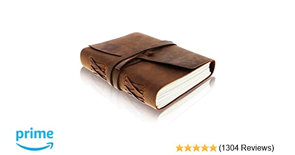 619e81d15ecb7 LEATHER JOURNAL Writing Notebook - Antique Handmade Leather Bound Daily  Notepad For Men   Women Unlined Paper 7 x 5 Inches