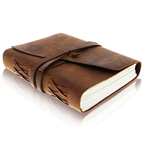 Leather Journal Writing Notebook - Antique Handmade Leather Bound Daily Notepad for Men + Women Unlined Paper 7 x 5 Inches, Perfect Gift for Art Sketchbook, Travel Diary and Notebooks to Write in