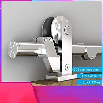Herraje para Puerta Corredera Kit Riel de puerta corredera de acero inoxidable de 150-400 cm Kit de accesorios de hardware Puerta de granero Puerta telescópica Carril colgante Riel de polea muda de
