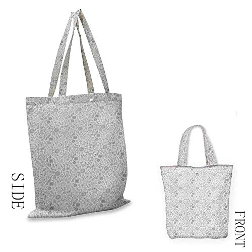 Black and WhiteWashable shopping bagDoodle Flowers and Paisleys Ethnic Inspirations Coloring Book OutlinesHandmade shopping bags W15.75 x L13.78 Inch Black White