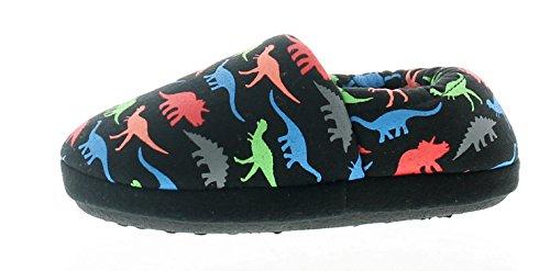 Niños Dinosaurio Estampado Pantuflas Tejido Suave Forro y Calcetines Para Mayor Comodidad Textil Cubierto Suela - Negro - GB Tallas 6-12 - Negro, 29