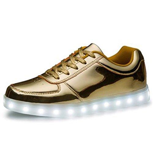 [Present:kleines Handtuch]JUNGLEST Unisex Damen Herren USB-Lade LED leuchten Glow Schuhe Luminous Sportschuhe Lovers Flashing Turn Gold