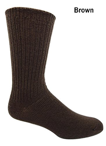 96% Merino Wool Non-binding Casual Socks (3 Pairs) (Large (8-12 Shoe), Brown)