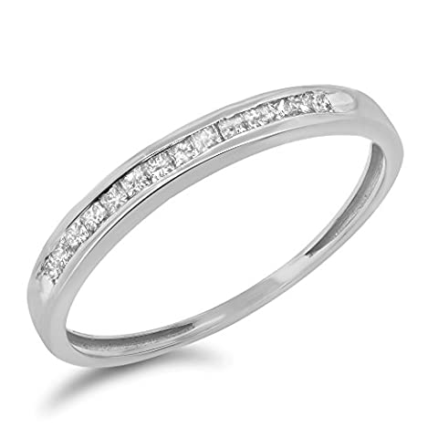 0.18 Carat (ctw) 10k Gold Princess Cut Diamond Ladies Wedding Band Channel Set Anniversary Ring 1/5 CT - White-gold, Size - Cut Halo Petite Diamond