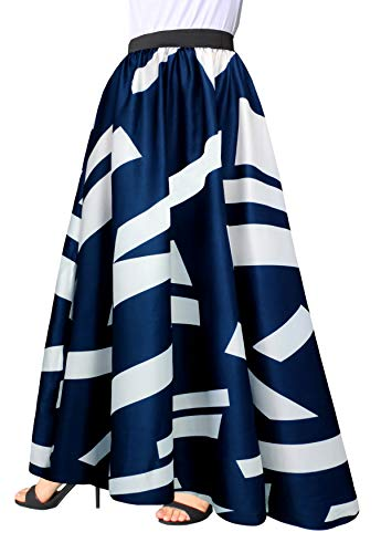Afibi Women Chiffon Mopping Floor Length Big Hem Solid Beach High-Waist Maxi Skirt (Large, Navy Blue)
