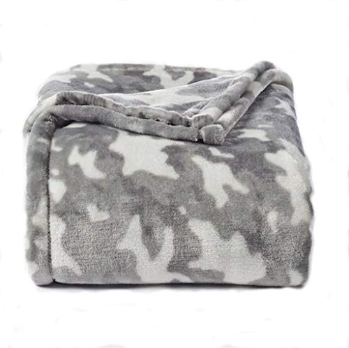 The Big One Oversized Plush Throw - Super Soft Microplush Blanket (Gray Camo) (Camouflage Blanket Fleece)