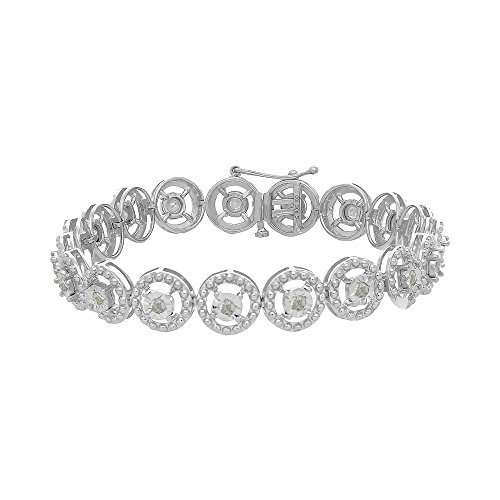Sterling Silver 1.00ct TDW Diamond Circle Link Bracelet (I-J,I3-Promo)