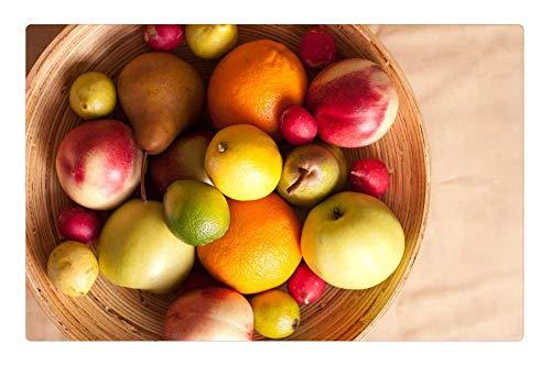 Indoor Floor Rug/Mat (23.6 x 15.7 Inch) - Fruits Basket Pear Lemon Apple Radish Green Red