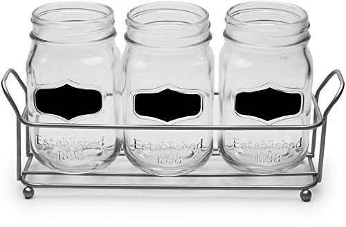 Circleware 69075 Chalkboard Mason Jar Glasses with Metal Holder Stand, Set of 4, Home and Kitchen Farmhouse Décor Drink Tumblers for Water, Beer and Beverages, 17 oz, Clear by Circleware (Image #1)