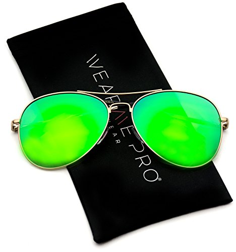 WearMe Pro - Classic Mirror Lenses Aviator Sunglasses w/Flex Hinges ()
