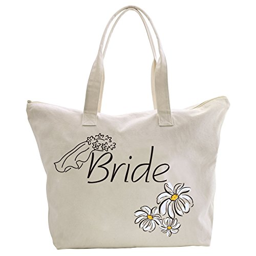 Honeymoon Wedding Gift (ElegantPark Bride Tote Bag Daisy for Wedding Bridal Shower Gifts Zip Canvas Cotton)