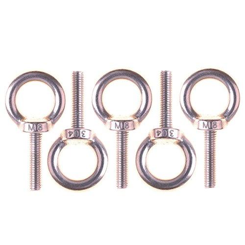 Eowpower 5Pcs Stainless Steel M8 x 32mm Ring Eye Bolt