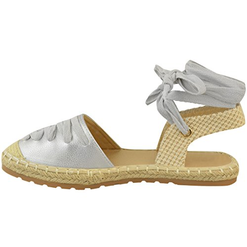 Fashion Thirsty Womens Flat Lace Up Espadrilles Summer Holiday Beach Sandals Shoes Size Silver Metallic rb4k4tYNT