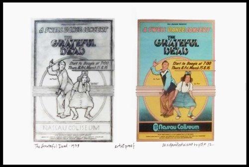 Grateful Dead Poster + Concept Sketches Nassau Coliseum 1973 Artist Proof Signed By Illustrator David Byrd COA