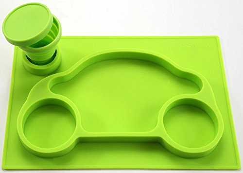 One-Piece Silicone Placemat Tray + Plate Car + Collapsible Cup + Cup Holder (Green) for Baby and Toddler - FREE BONUS
