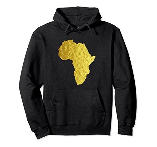 Unisex Africa Hoodie Gold African Art Mens Graphic Fashion Hoodie 2XL Black