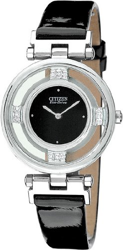 Stiletto Diamond Watch - Diamond Stainless Steel Stiletto Black Strap