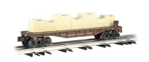 Williams by Bachmann Flat Car with Crates PRR - O Scale - Train Flat Car