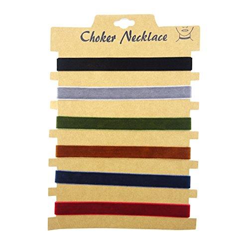 (Honbay 6PCS Fashionable Women Choker Velvet Ribbon Collar Ribbon Adjustable Necklace)