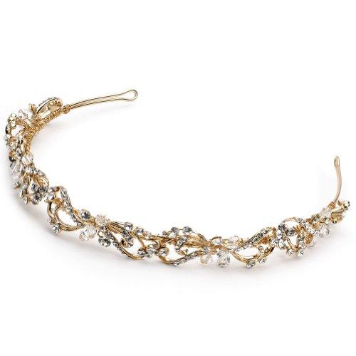 USABride Gold-Tone Floral Bridal Headband, Rhinestone and Swarovski Crystal, 3159-G