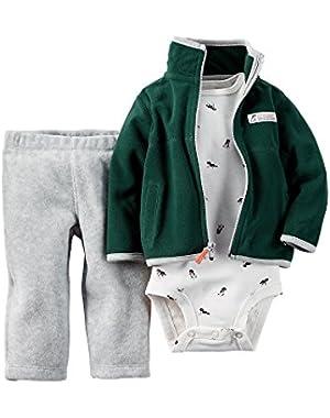 Baby Boys 3 Pc Sherpa Cardigan Set (18M, Green Grey))