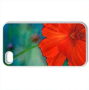 Red and beautiful - Case Cover for iPhone 4 and 4s (Flowers Series, Watercolor style, White)