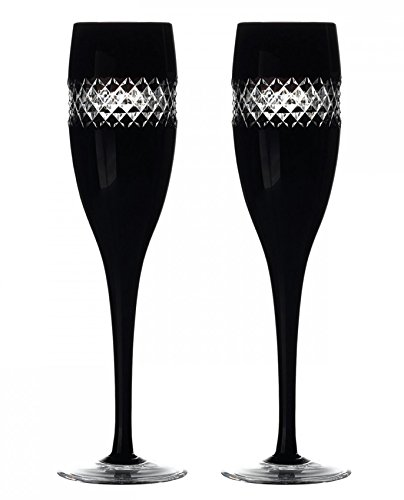 Waterford Cut - Waterford John Rocha Champagne Flutes Black Cut Pair Cased Crystal New In Box