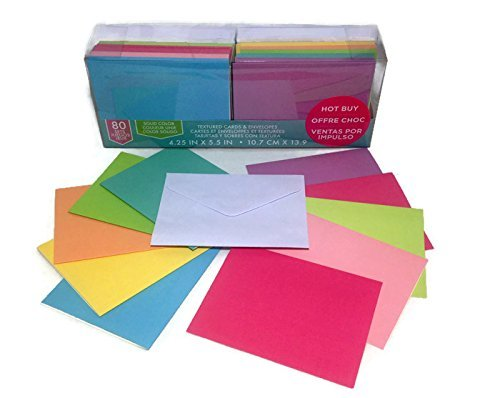 Craft Smith Textured Blank Cards and Envelopes 80 Sets Assorted Solid Colors - Cards Envelopes Craft