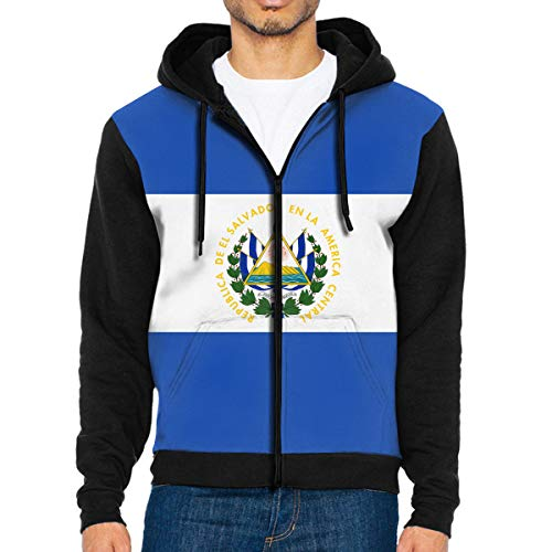 LEATHERS Man's Casual Garb Hoodies El Salvador Flag Full Front Zipper Hoodie Men's Long Sleeve Black -