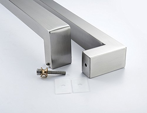 TOGU TG-R3030 Heavy Duty Commercial Grade 600mm/24 inches Square/Rectangle Shape Solid 1.2mm Thick Stainless Steel 304 Push Pull Door Handle, Full Brushed Stainless Steel Finish