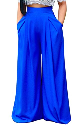 Lunghe Fashion Pantaloni High Blu Baggy Gonna Pantaloni Primaverile Elegante Tempo Colori Saoye Larghi Solidi Waist Donna Giovane Pantaloni Ragazze Libero Autunno wtqgpA