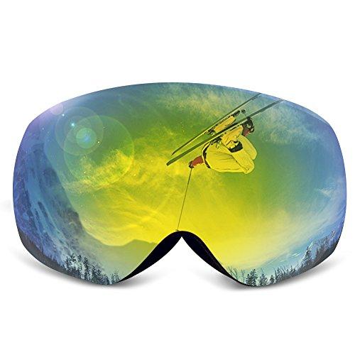 Ski Goggles,KAMUGO Snowboard Snowmobile Snow OTG Goggles with 100% UV400 Protection Anti-fog Spherical Frameless Detachable Dual Lenses Design for - Apx Lens