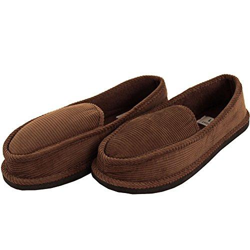 Pantofole Da Uomo Di Velluto A Coste Color Marrone