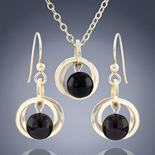 Simple Real Black Onyx Minimal Jewelry Gift Set for Women with 14k Gold-filled Dangle Earrings and Pendant Necklace - 20