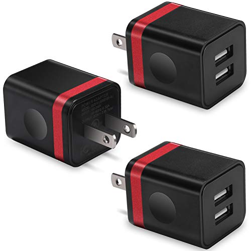 (USB Wall Charger, BEST4ONE 2.1A/5V Dual Port USB Plug Power Adapter Charging Block Cube Compatible with Moto, Phone XR/XS/X 8/7/6 Plus, Samsung, Google Pixel, LG (Black/Red) 3-Pack)